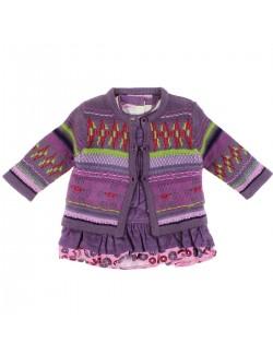 Set haine 3 piese bebe: Cardigan, bluza si sarafan mov