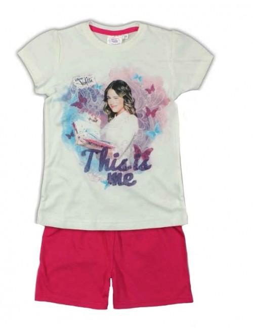 """Pijama de vara Disney Violetta  alb-fucsia """"This is me"""""""