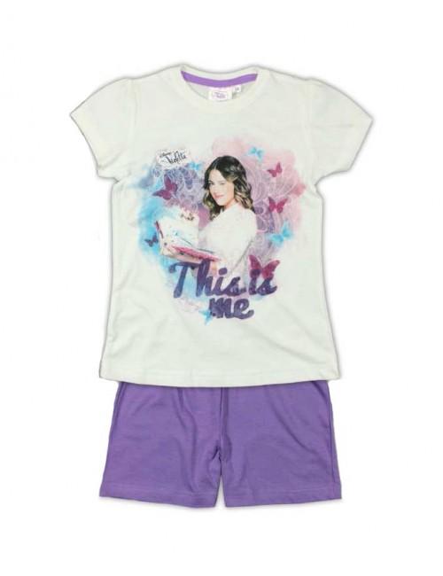"Pijama de vara Disney Violetta  alb-mov ""This is me"""