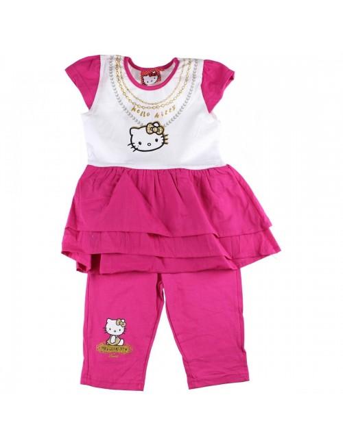 Set haine vara: Bluza tunica si colanti 2 - 8 ani Hello Kitty -fucsia