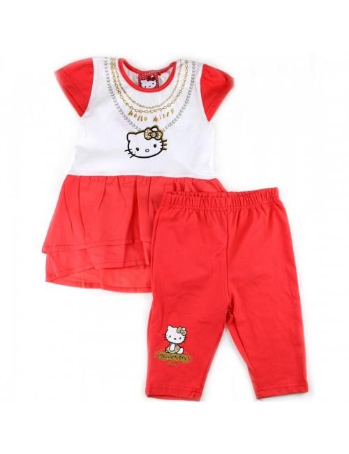 Set haine vara: Bluza tunica si colanti 2 - 8 ani Hello Kitty -corai