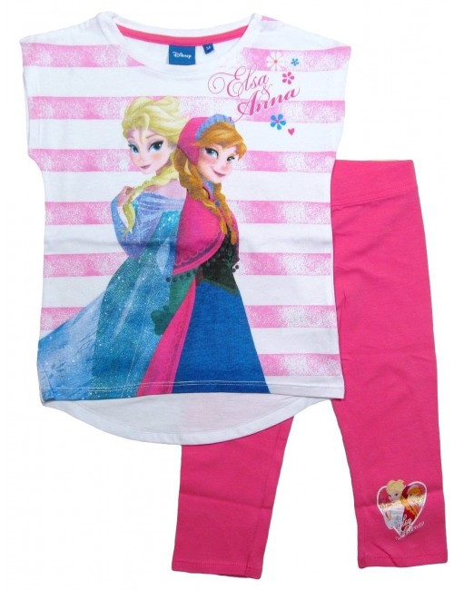 Compleu vara: Tricou tunica si colanti Disney Frozen roz OE1761