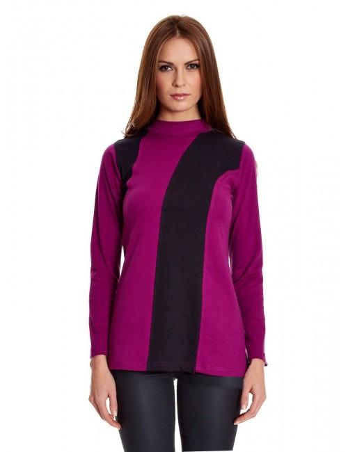 Bluza lunga pentru femei violet-negru 05.WE-1009