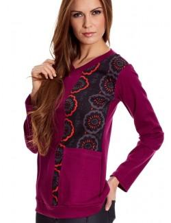 Bluza lunga pentru femei, grena-negru 05.WE-901-B