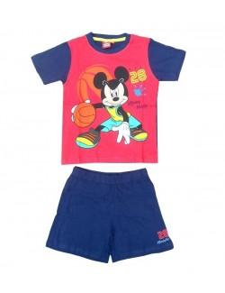 Pijama de vara copii, Mikey Mouse, rosu-bleumarin