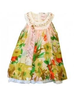 Rochie eleganta cu perle, alb-verde, copii 2 -12 ani