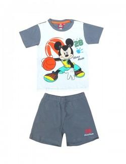 Pijama copii, Mikey Mouse, alb-gri, maneca scurta
