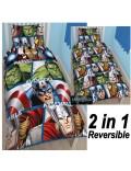 Lenjerie de pat reversibila, Avengers, 135 x 200 cm