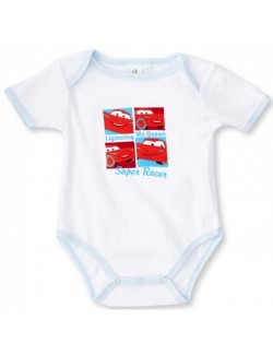 Body bebe 3-23 luni, alb/bleu, Disney Cars