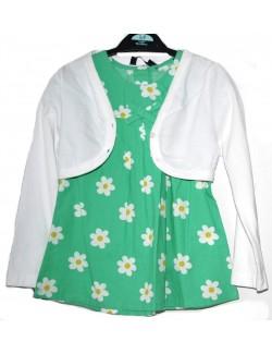 Rochie verde cu bolero alb, 3-5 ani