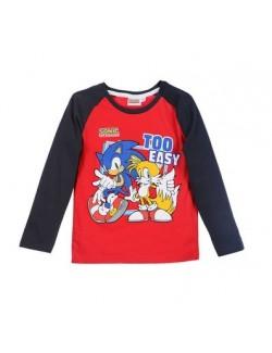 Bluza cu maneca lunga copii, rosie, Ariciul Sonic