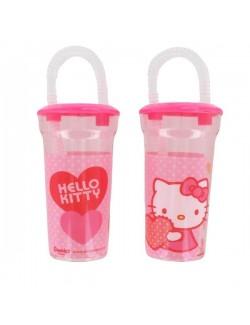 Pahar din plastic cu pai Hello Kitty 400 ml