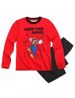 "Pijama copii Mario Bros ""Know your enemies"" 4-10 ani"