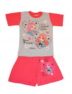 Set haine: Tricou si pantaloni scurti Beauty School, 92 - 128