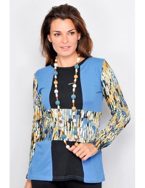 Bluza casual femei, albastru-negru