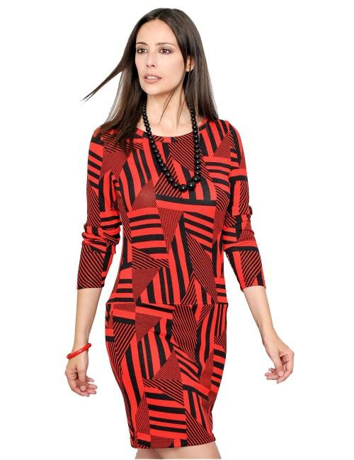 Rochie de zi cu imprimeu geometric, rosu-negru