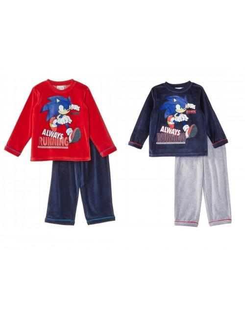 Pijama catifea Ariciul Sonic, copii 3 ani