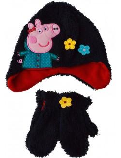 Set iarna: caciula si manusi Peppa Pig, copii 1-3 ani