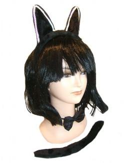 Set Halloween Pisicuta Kitty: urechi, codita, papion