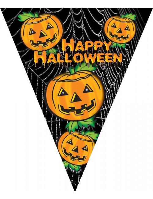 Ghirlanda Happy Halloween, cu 10 fanioane, 5 m