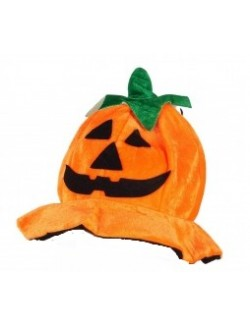 Palarie adulti, Dovleac Halloween, din pluș, 58 cm