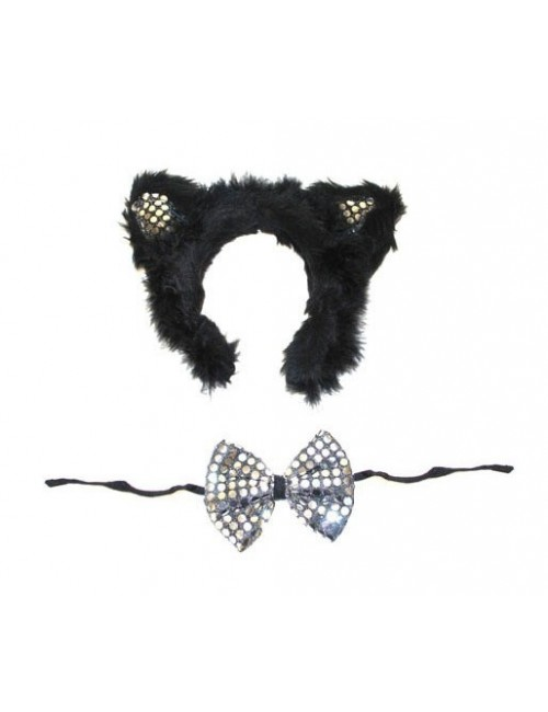 Set accesorii Pisicuta, cu paiete: urechi si papion