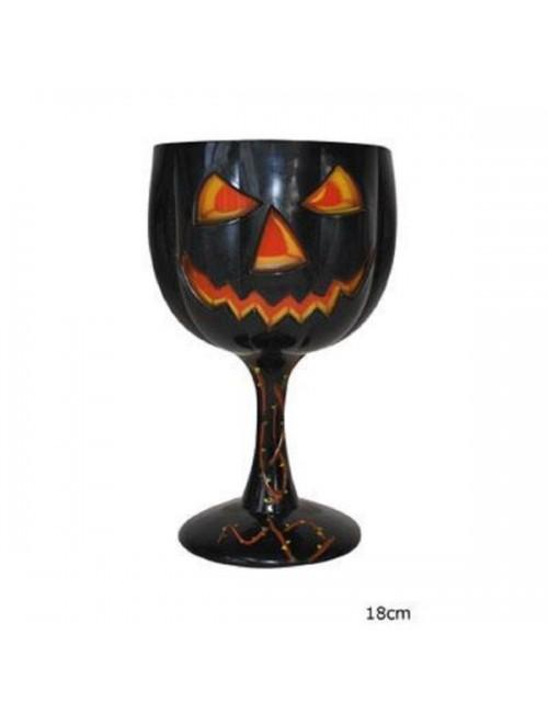 Pahar cu picior Halloween cu Dovleac Jack-o'-Lantern, 18 cm
