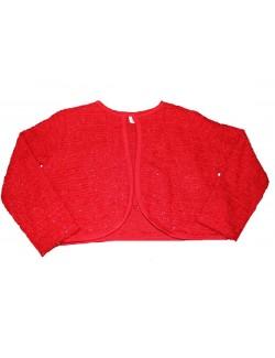 Bolero rosu cu fir lurex, copii 0 luni - 3 ani