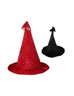 Palarie vrajitoare/magician, din catifea cu stelute argintii