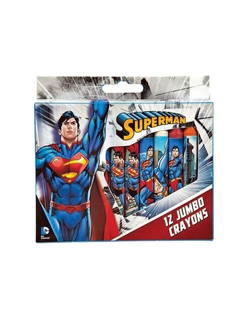 Set 12 creioane colorate, cerate, Superman