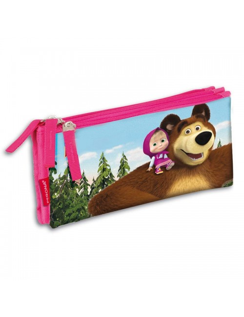 Penar triplu Masha si ursul, 22x10x3,5 cm, Perona
