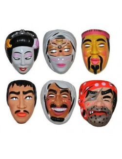 Masti carnaval diverse personaje: Chinez, Pirat, Japonezi, Arabi