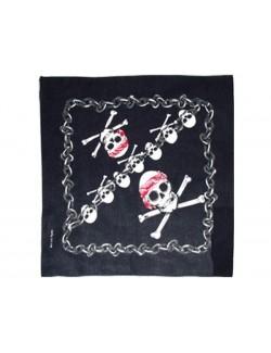 Bandana pirat, cu cap de mort si lanturi, 53 x 53 cm