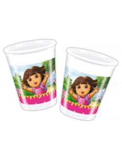 Set 10 pahare Dora descopera lumea, plastic alb, 200 ml