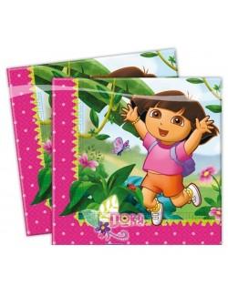 "Set 20 servetele ""Dora descopera lumea"", 33x33 cm"