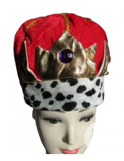 Coroana rege, pluș roșu - Accesoriu carnaval