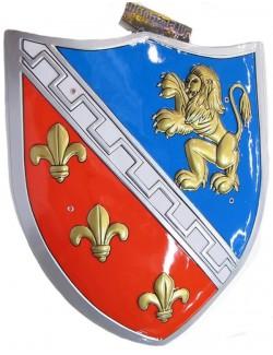 Scut plastic rosu-albastru 56x48 cm, cavaler cruciat