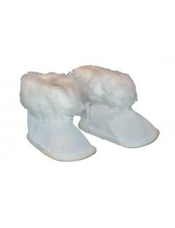 Botosei albi, din piele, pentru bebelusi 3-18 luni