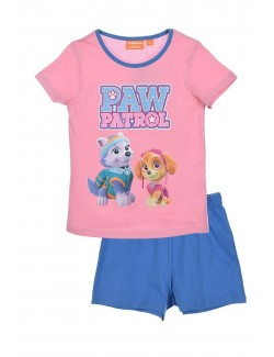 Pijama de vara fete 3-6 ani, Paw Patrol, roz-albastru
