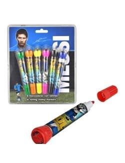 Set 6 markere colorate cu stampile, Leo Messi