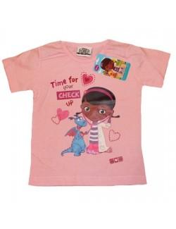 Tricou Disney Doctorita Plusica, roz, 2-5 ani
