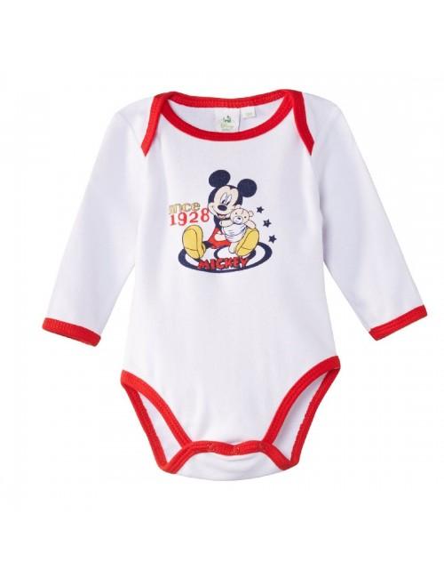 Body Mickey Mouse, alb/rosu, bebelusi 3-23 luni