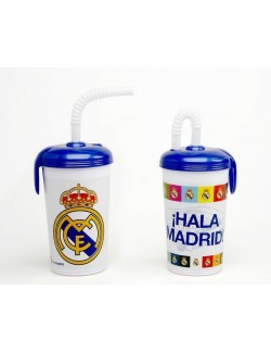 Pahar plastic cu capac si pai Real Madrid, 450 ml