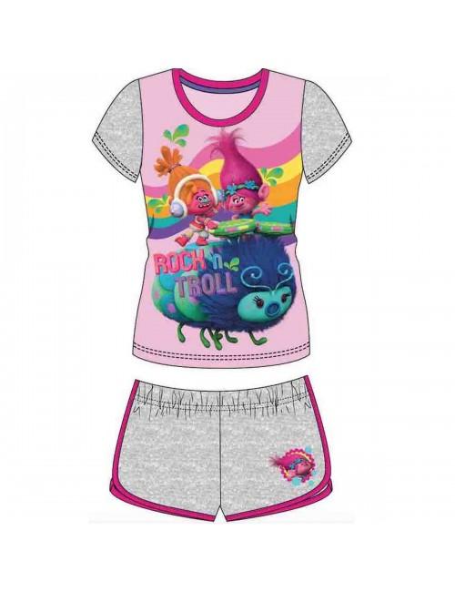 Set haine fete Trolls (Trolii): Tricou si pantaloni scurti  4-8 ani