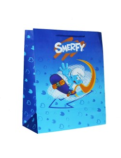 Punga cadou Strumfi 32 x 26 cm, albastra