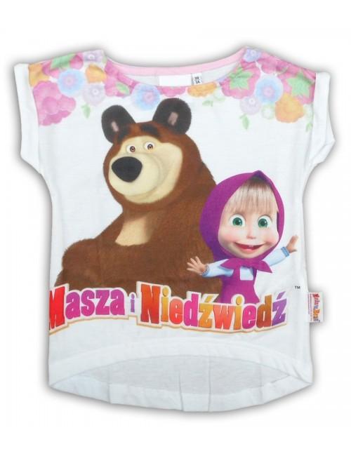 Tricou fete Masha si Ursul 3 - 8 ani, alb