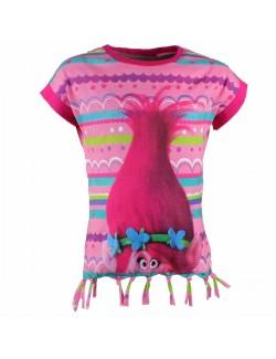 Tricou cu franjuri Trolls (Trolii) fete 4 - 8 ani